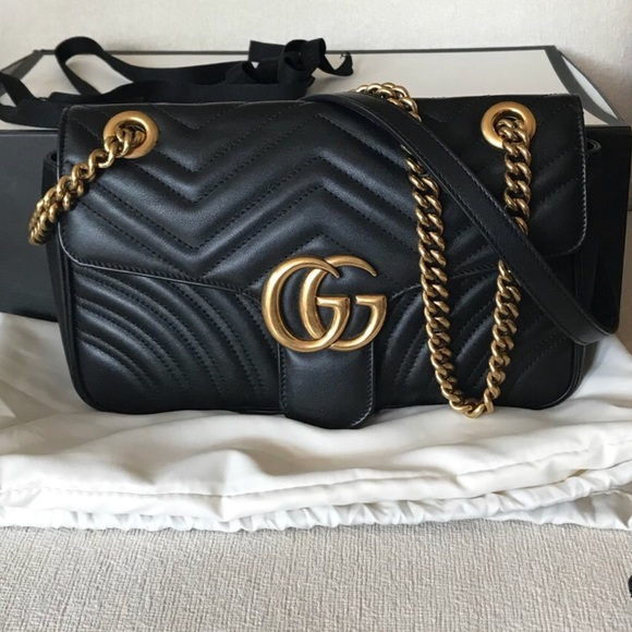 939a8adac10 Gucci Handbags - Authentic Gucci Small Marmont Black Flap Bag